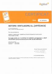 ISO 9001:2015 Certificat - Airtècnics