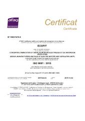 ISO 9001:2015 Certificat - Ecofit