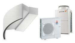 Rotowind DX varmepumpebasert luftgardin for MITSUBISHI ELECTRIC