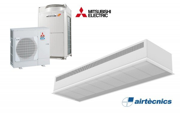 Dam DX innfelt luftgardin for varmepumpebasert MITSUBISHI ELECTRIC