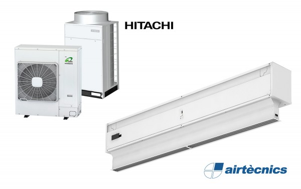 Cortina de ar Invisair DX com bomba de calor HITACHI