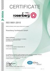 ISO 9001:2015 Certificate - Rosenberg