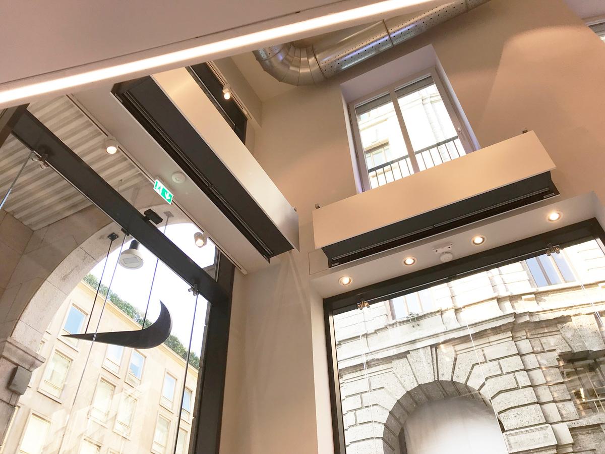 Air curtains ZEN BB Nike Milano flagship store