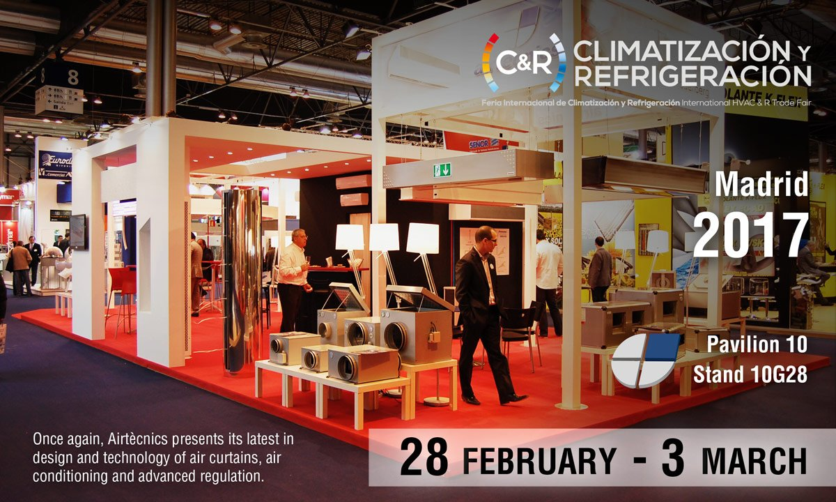 Once again, Airtècnics will be present at the International Air-Conditioning, Heating, Ventilation and Refrigeration Exhibition (C&R 2017) that is taking place from the 28th of February to the 3rd of March at Feria de Madrid exhibition center, with the aim of becoming the epicentre of the most cutting-edge technology and show the latest I+D developments of this industry. It is a scenario where the leading international agents of the sector will meet to strengthen professional relations and share information and knowledge.