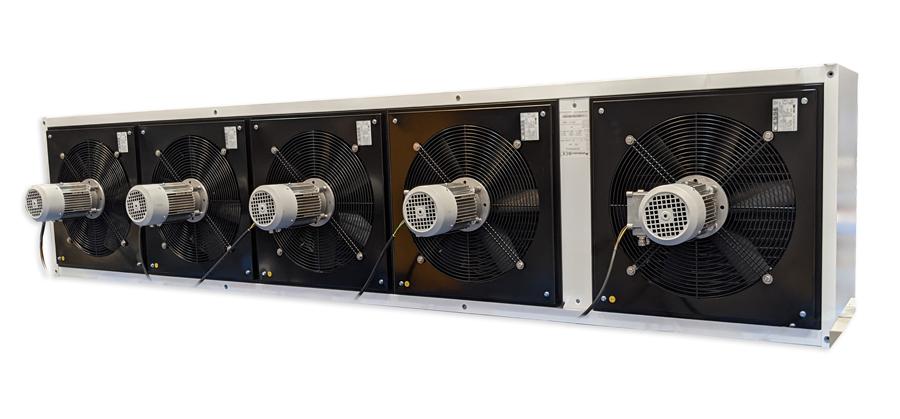 Maxwell légfüggöny ATEX ventilátorokkal, melynek motorja a készülék házán kívül kapott helyet.