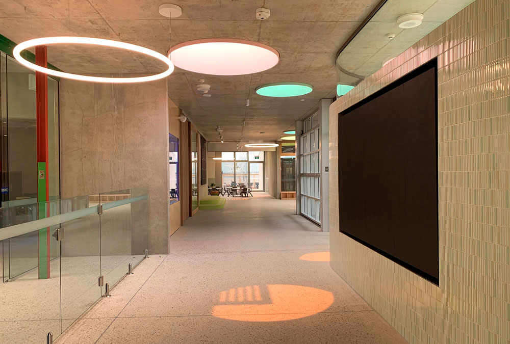 Zen air curtain in children's center in Sydney, Australia, separates air-conditioned spaces without doors