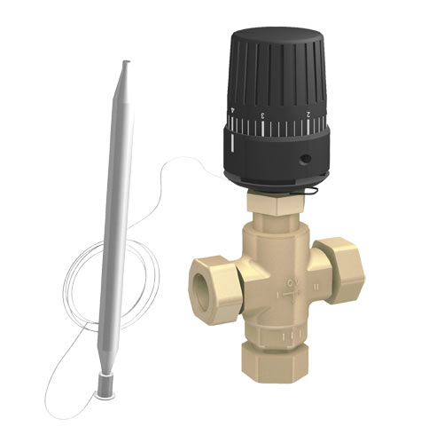 3 ways thermostatic valve